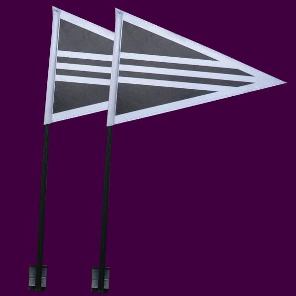 Uitvaartstoetvlaggen set 2 stuks rouwstoet autovlaggen