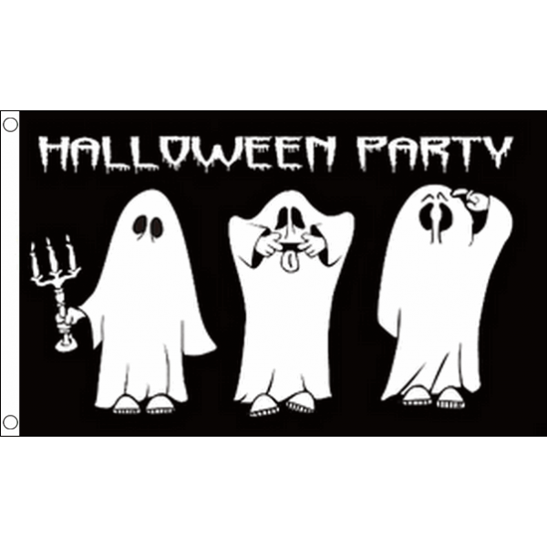 Halloweenvlag Party 90x150cm met spoken