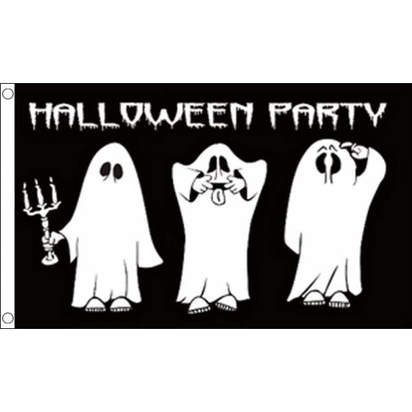 Halloweenvlag Party 90x150cm met drie lieve spoken voor Halloween