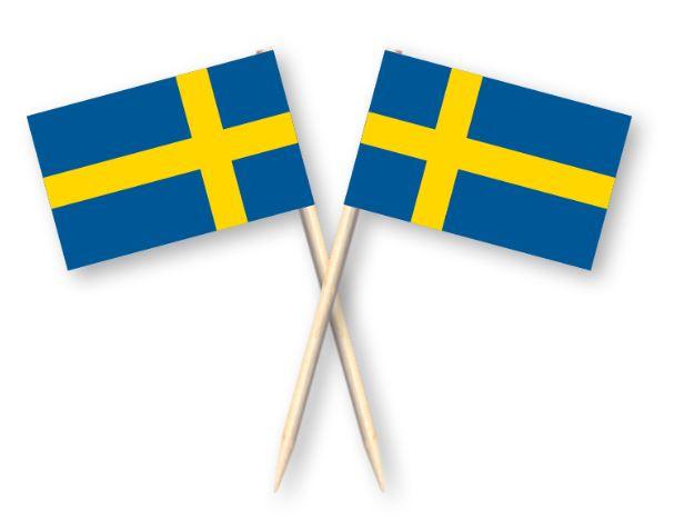Cocktailprikkers met Zweedse vlag, Zweden Kaasprikkers, 50 stuks