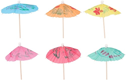 Cocktailprikkers Paraplu asorti 12 stuks