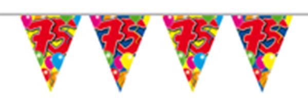 Vlaggenlijn gefeliciteerd 75 jaar ballonnen 10m