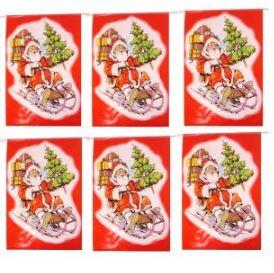 Vlaggenlijn Kerstmis, kerstman, kerst rechthoekig 6m