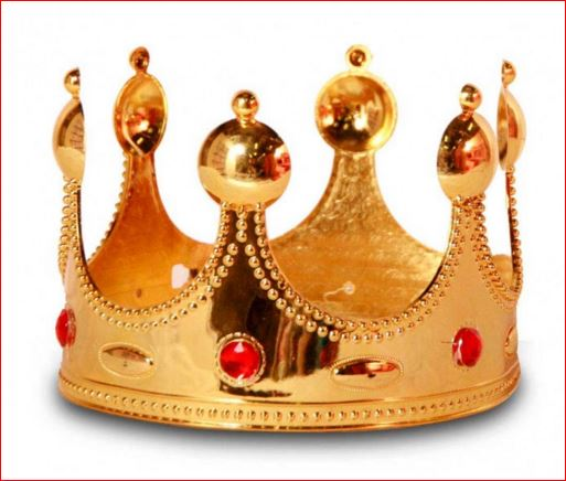 Gouden kroon met rode robijnen kroontje goud