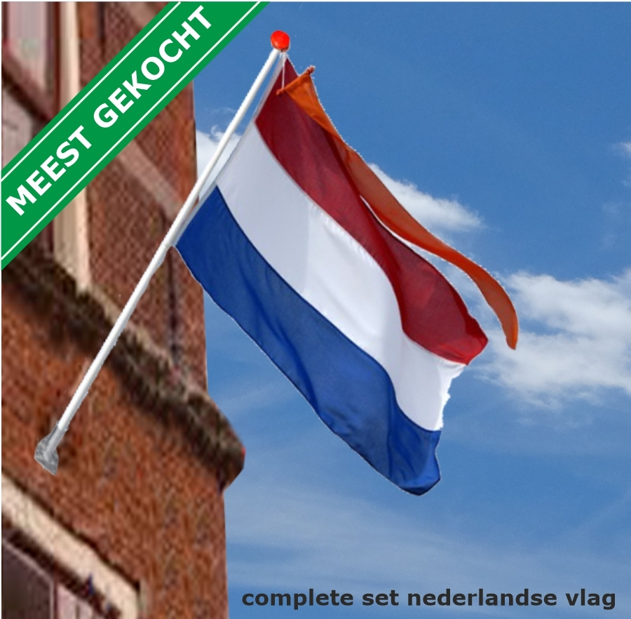 Complete set Nederlandse vlag Oranje wimpel Houten gevelstok en houder
