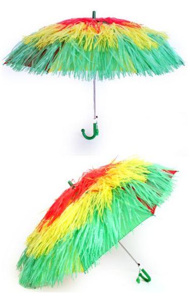 Paraplu Carnaval Limburg Rood/Geel/Groen, raffia paraplu