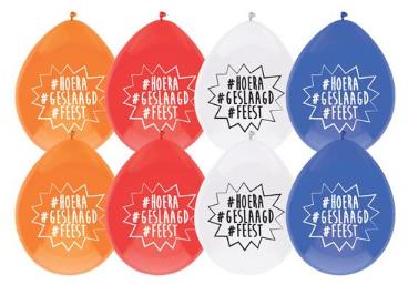 Hoera geslaagd Feest Ballonnen 8 stuks