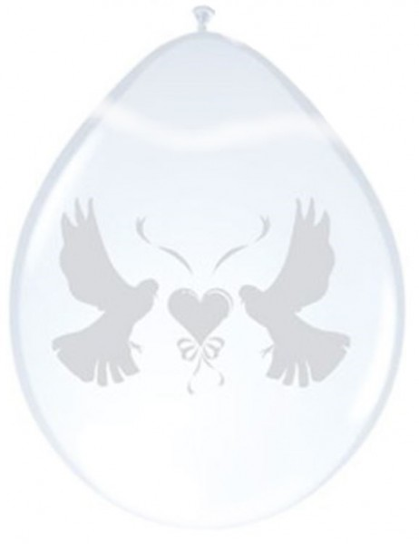 Ballon duiven wit 8 stuks in zakje
