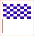 Zwaaivlag 30x45cm op houten stok lengte 60cm blauw/wit geblokt