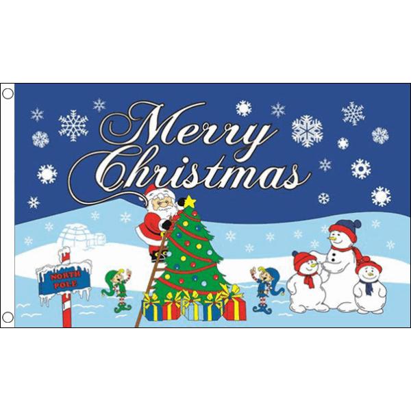 Vlag Kerstvlag vrolijk kerstfeest Noordpool 90x150cm Merry Christmas Vlaggenclub