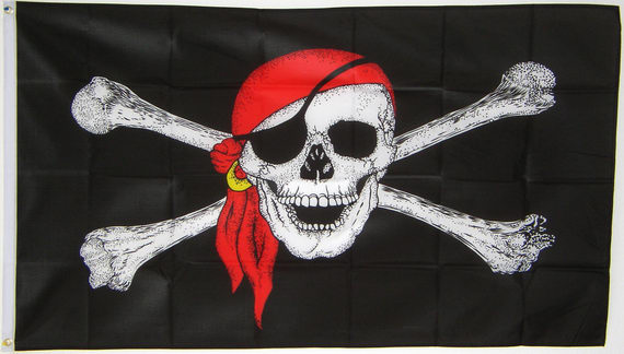 Piratenvlag Red Pirate groot 90x150cm vlaggenclub