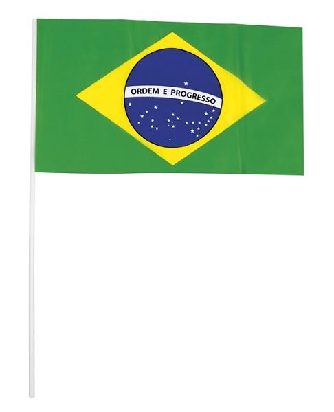 Zwaaivlaggetje Brazil 42cm per 10 stuks Brazilie