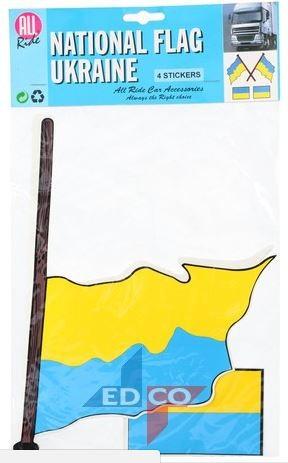 Stickers Oekraïense vlag Oekraïne 4 stuks (2 varianten)