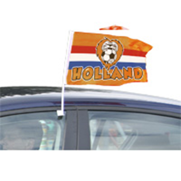 Autovlag Oranje Holland met Leeuw voor het EK   WK autovlaggen