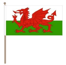 Zwaaivlag Wales, Welshe zwaaivlag 30x45cm, stoklengte 60cm