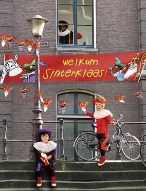 Welkom Sinterklaas straatbanner vlaggenclub