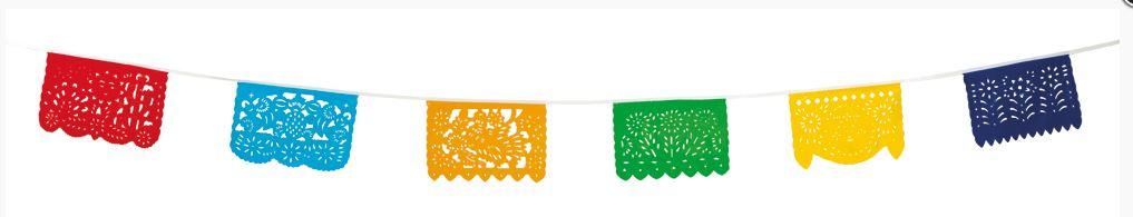 Vlaggenlijn ajour vrolijke kleuren, kant, fiësta 10m