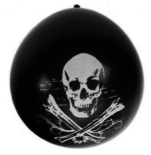 zwarte piraten ballon met witte doodshoofd, 8 stuks