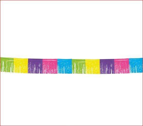 Vlaggenlijn Franje met vrolijk gekleurde franjes 10m1 feestversiering