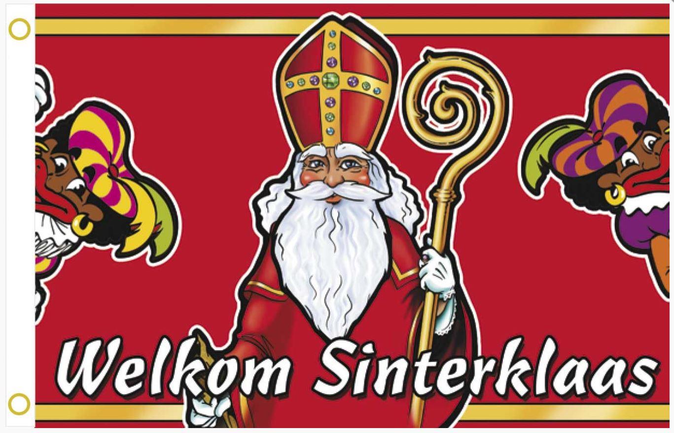 Vlag Welkom Sinterklaas en Pieten gevelvlag 60x90