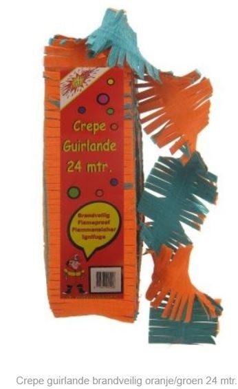 Groen Oranje draai guirlande slinger 24m brandvertragend