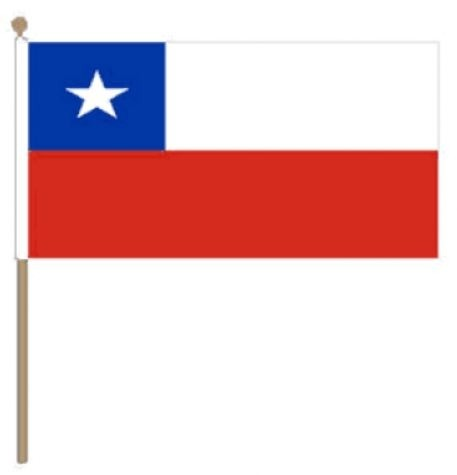 Zwaaivlag Chili, Chileense fanvlag 15x22,5cm, stoklengte 30cm