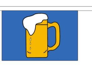 Vlaggenlijn Bier stof 9m