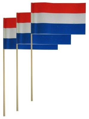 Papieren zwaaivlaggetjes Nederland NL r/w/b 12x20cm  50 stuks