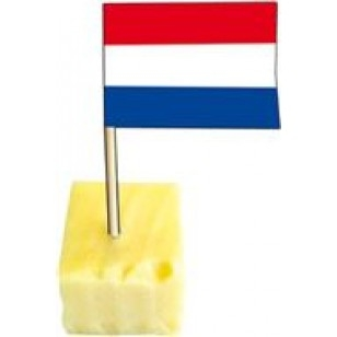 Kaasprikker met Nederlandse vlag 50 stuks met kaas