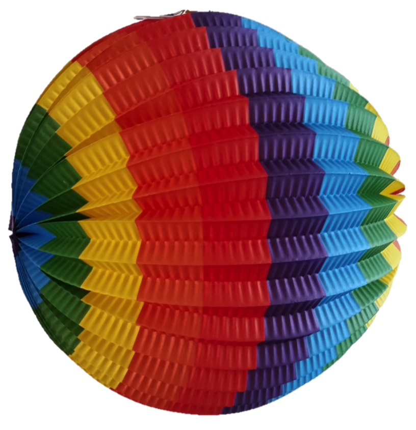 Lampion regenboog rond 22 cm