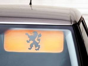 auto zonneklep oranje met leeuw