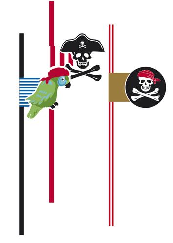 Piraten rietjes Skull Island 6 stuks