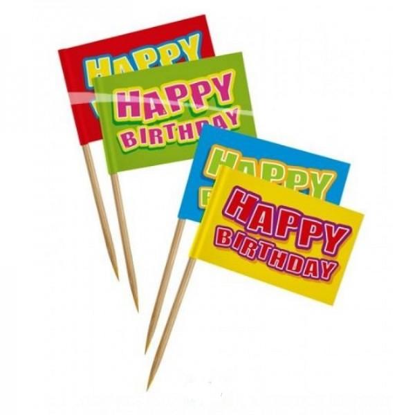 24 HAPPY BIRTHDAY cocktailprikker Kaasprikkers
