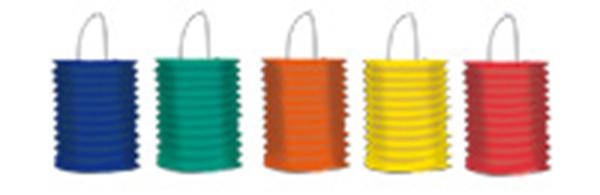 Lampionnen 5 verschillende kleuren assorti Groen Geel Blauw Oranje Rood