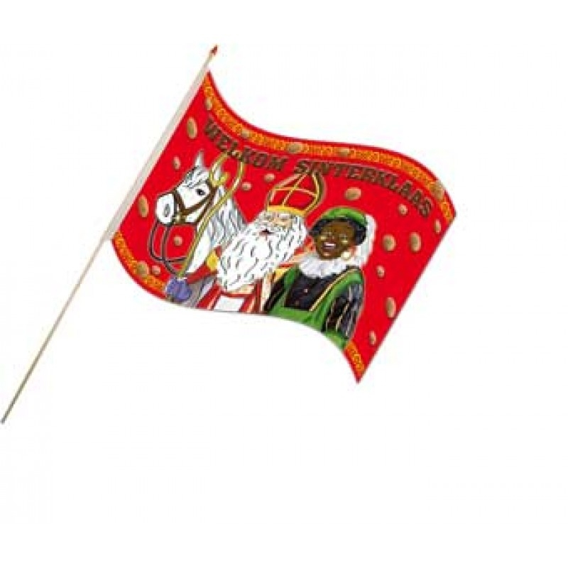 Sinterklaas zwaaivlaggetjes Sint en Piet Choco