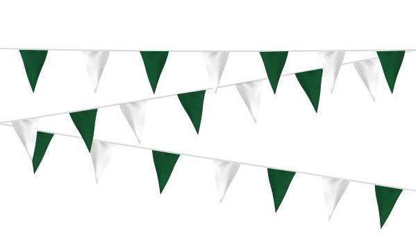 Vlaggenlijn Groen Wit  stof 20m, extra zware kwaliteit
