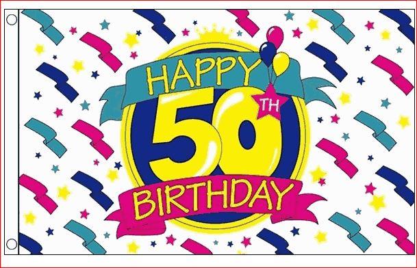 Vlag 50 jaar XL 90x150cm Happy Birthday vlag voor Sarah en Abraham