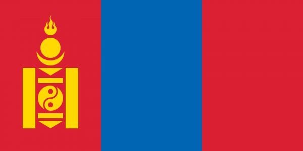 Tafelvlag Mongolie met standaard
