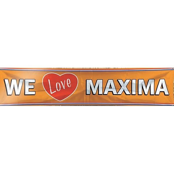 Oranje We Love Maxima spandoek banner EK   WK en koningsdag 180x40 cm
