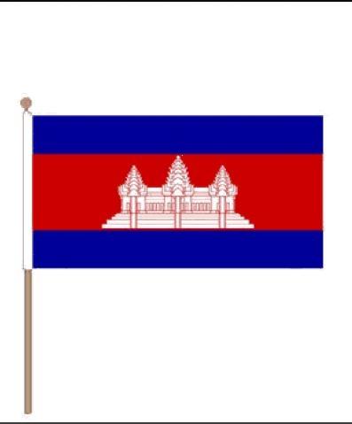 Zwaaivlag Cambodja, Cambodiaanse Zwaaivlaggen 30x45, 60cm