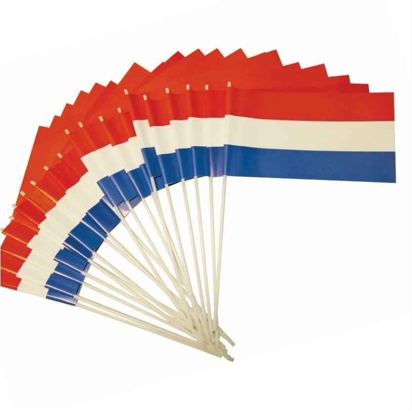 Papieren zwaaivlaggetjes Nederland NL r/w/b 20x30cm 10 stuks