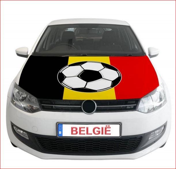 Belgie motorkap hoes met voetbal EK WK auto versiering Rode Duivels