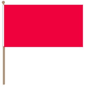 Zwaaivlag rood 30x45cm met stok van 60cm