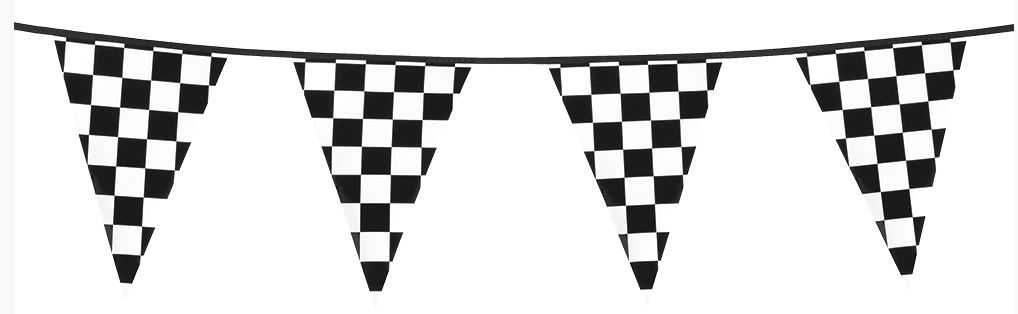 Vlaggenlijn racing 6 meter 15 wimpels zwart wit gebokt finish