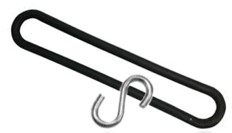 TIR spanrubber 250mm kleur zwart met S-haak