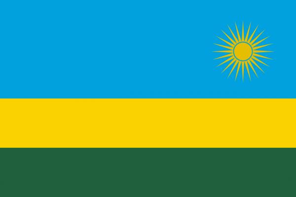 Tafelvlag Rwanda met standaard