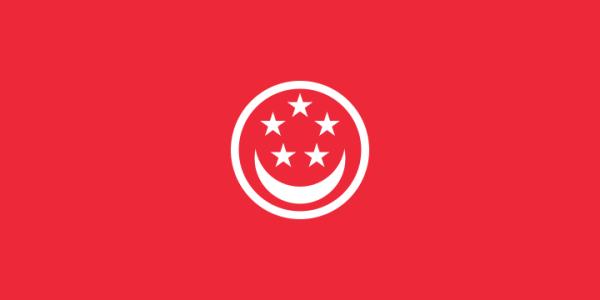 Singaporese koopvaardij vlag   vlaggen Singapore koopvaardij 100x150cm gevelvlag