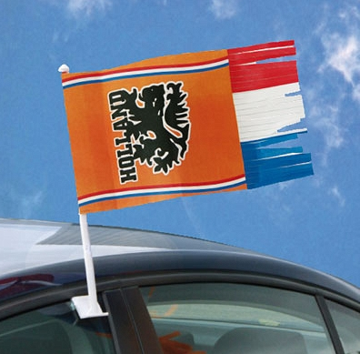 Autovlag Holland Oranje met slierten 30x35cm