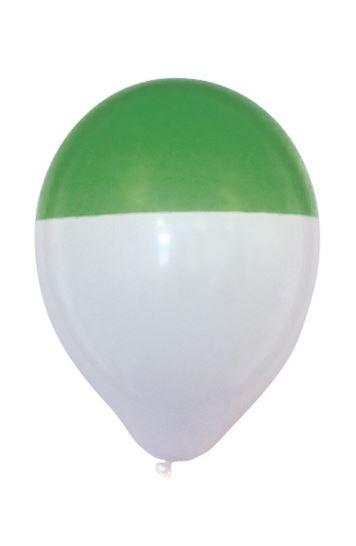 Ballon groen wit bicolour 25 stuks