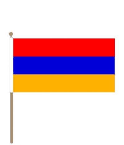 Zwaaivlag Armenië Armeense zwaaivlaggen 15x22,5cm met stokje van 30cm